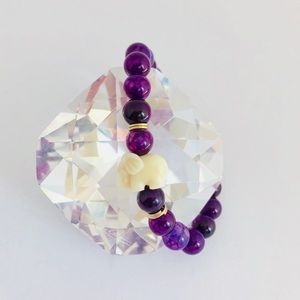 Handmade Purple Lucky Elephant Beaded Bracelet